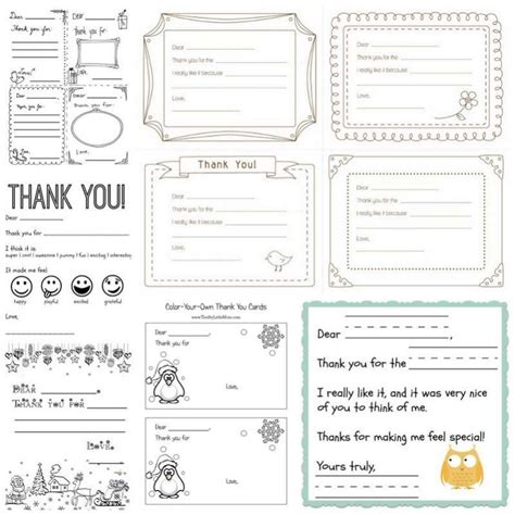 making printable thank you cards printable thank you cards for kids to write hands on as