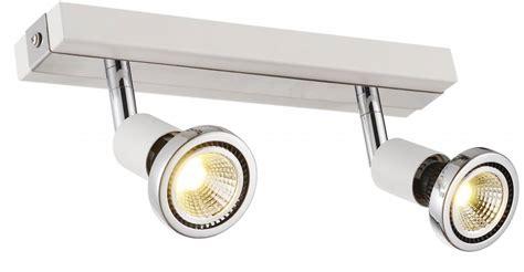 ceiling light led white black chrome brushed steel 2xgu10