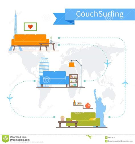 couching travel couchsurfing cartoons illustrations vector stock images