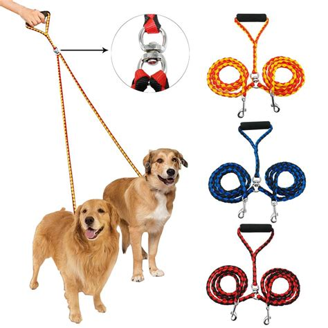 two dogs leash for two dogs 47 inch braided tangle free dual leash coupler for