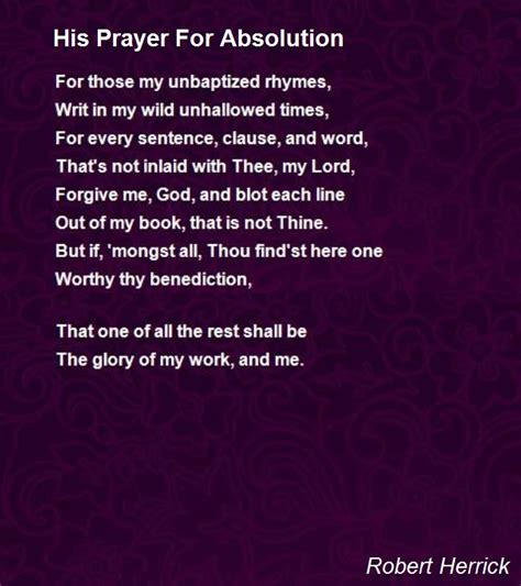 that s not poetry books his prayer for absolution poem by robert herrick poem