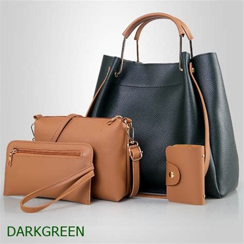 Tas Set Import By1083by 4in1 jual b3078 darkgreen tas serut set 4in1 grosirimpor