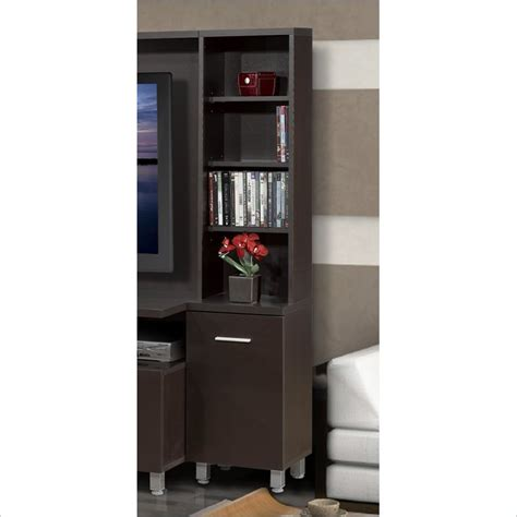 nexera element tall bookcase audio tower in espresso for