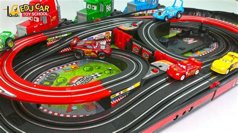 truck race track learning color special disney pixar cars lightning mcqueen
