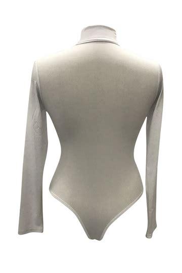 Mock Neck Plain womens mock neck plain sleeve slimming bodysuit white