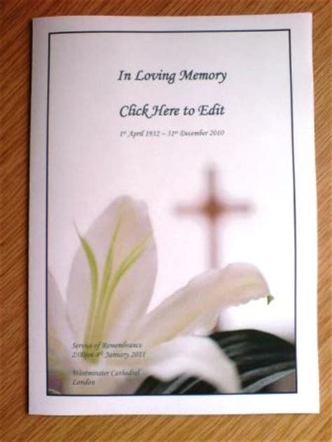 free funeral service memorial template