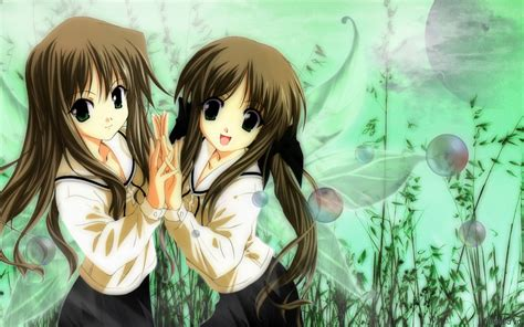 wallpaper anime twins green wings twins green eyes anime girls sailor uniforms