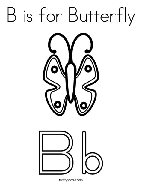 b is for butterfly coloring page twisty noodle