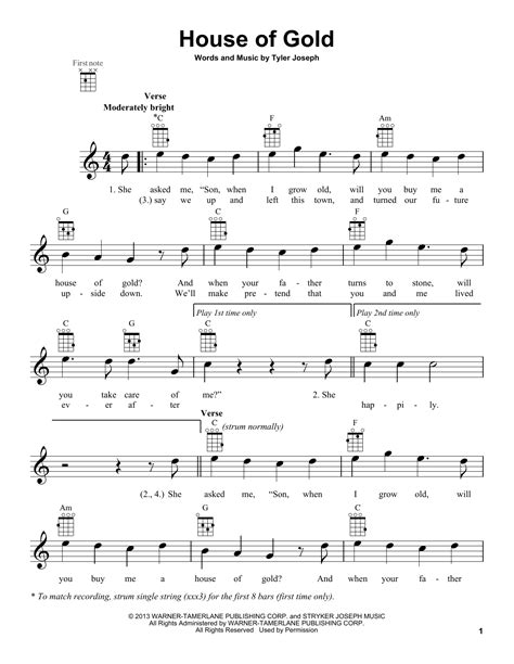 House Of Gold Sheet Music By Twenty One Pilots Ukulele 164342