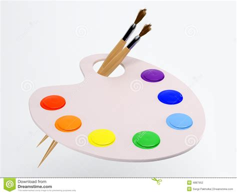 the palette with paintbrush and paint stock photography image 4887952