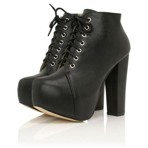 buy fever block heel platform ankle boots black leather