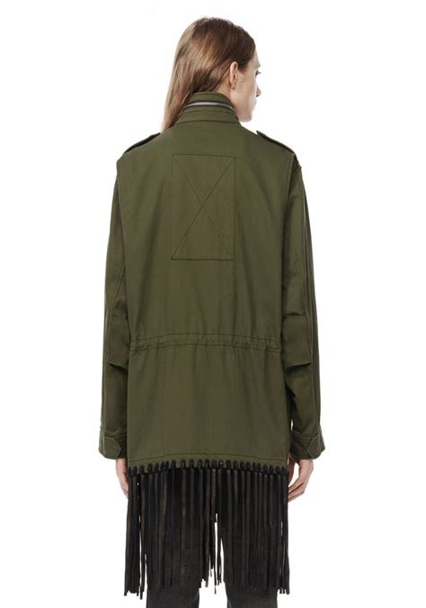 12 Jaket Fringe Jumbo wang runway oversized parka with leather fringe jackets and outerwear official site