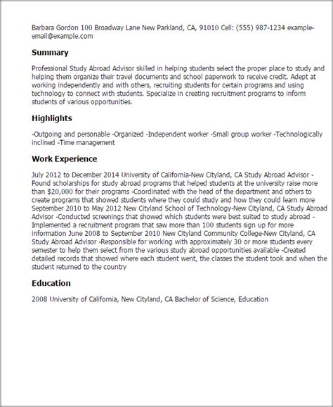 Study Abroad Experience Sle Essay by Professional Study Abroad Advisor Templates To Showcase Your Talent Myperfectresume