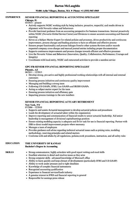 Financial Reporting Resume Template Senior Financial Reporting Resume Sles Velvet