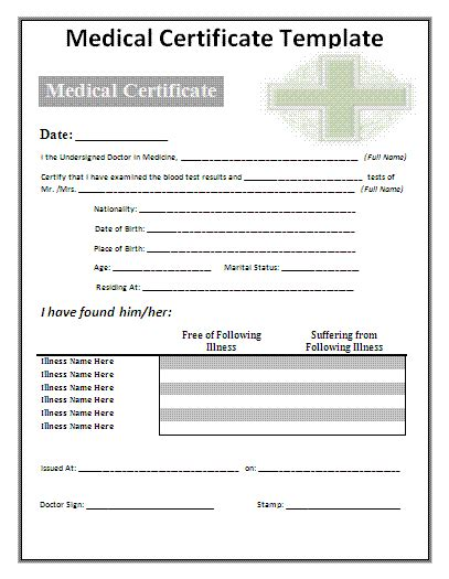 medical certificate template free word s templates
