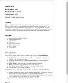 Truck Broker Cover Letter by Professional Customs Broker Templates To Showcase Your Talent Myperfectresume
