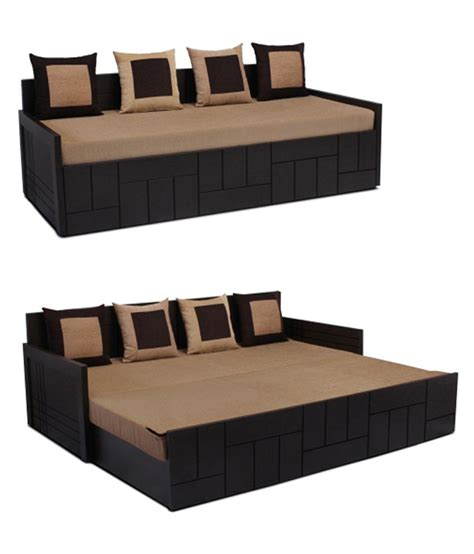 Auspicious Nelson Brown Sofa Cum Bed With Four Cushions