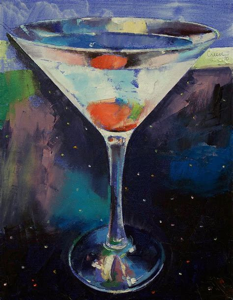 martini painting bombay sapphire martini painting by michael creese