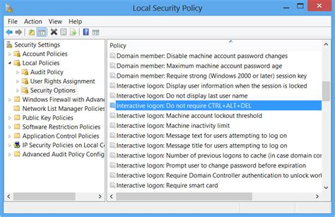 enable disable secure logon ctrl alt in windows 8