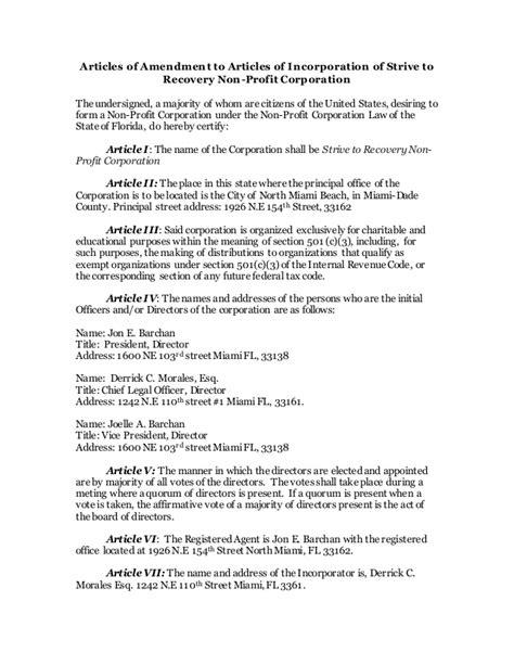 Strive Articles Of Amendment Articles Of Amendment Template