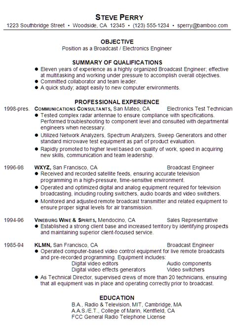 resume for a broadcast electronics engineer susan