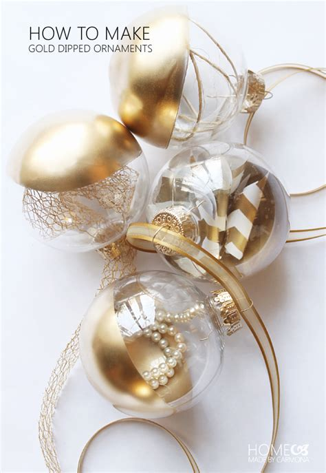 elegant gold dipped ornaments home made by carmona