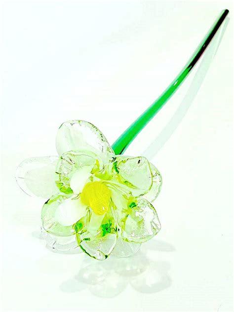 fiori di murano fiore di vetro di murano verde e bianco venturini