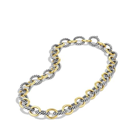 david yurman oval large link necklace with gold in