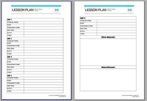generic lesson plan template free blank lesson plan templates search results