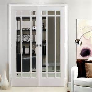 Interior Door Frame Styles Manhattan Door Pair With Bevelled Clear Glass And Fully Primed