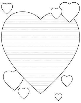 heart shaped writing paper for valentine s day primary