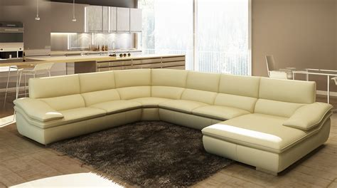 divani casa 782c modern beige italian leather sectional sofa