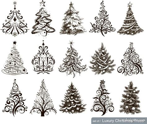 svg tree pattern 4 designer christmas tree pattern vector