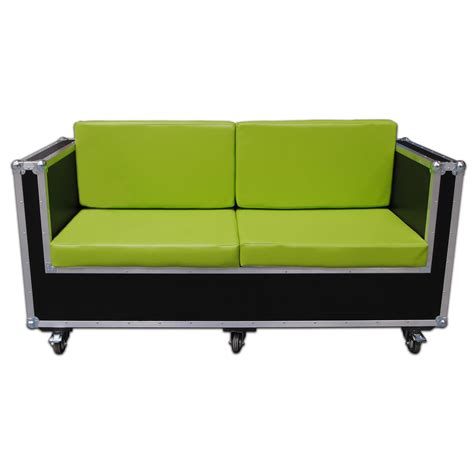 3 seater wood and green leather sofa