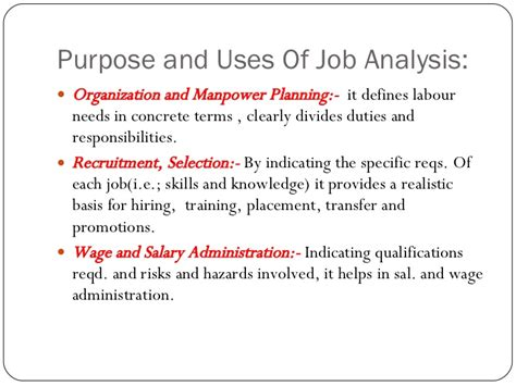 uses of analysis the process and its uses