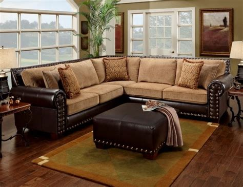 Leather Sofa With Studs Leather Studded Sectional Home Two Tones Leather And Tans