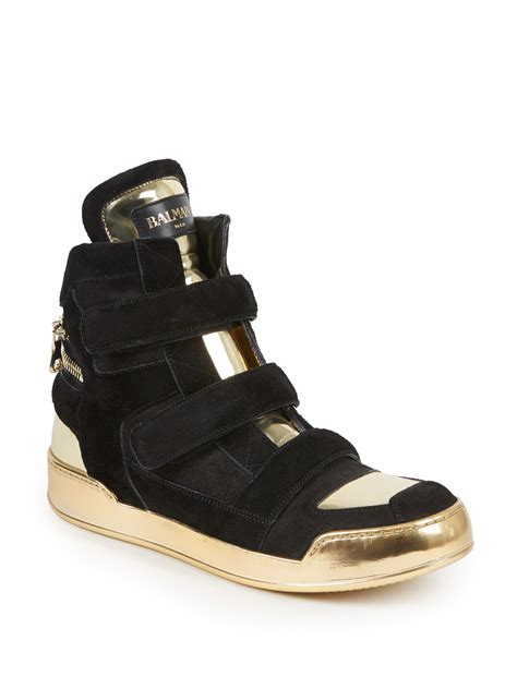 balmain sneakers mens lyst balmain zip detail suede leather high top