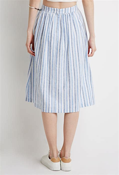 forever 21 contemporary striped a line skirt in blue lyst