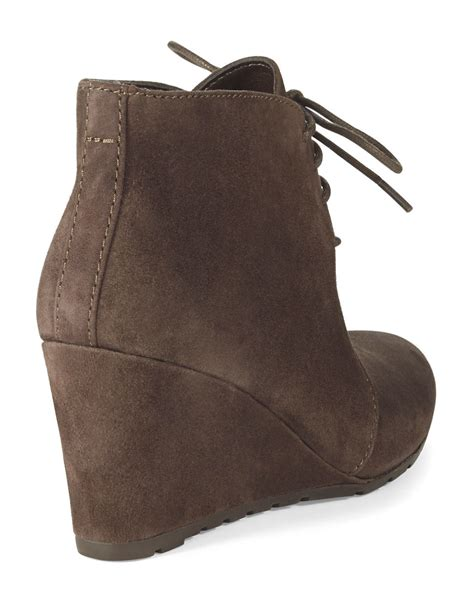 clarks rosepoint dew suede wedge ankle boots in metallic