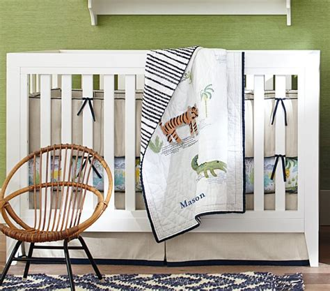 jungle themed nursery bedding sets jungle safari baby bedding set navy pottery barn