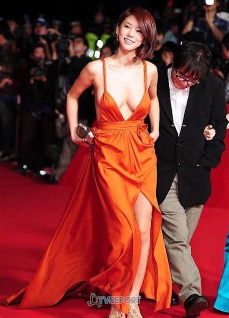 korean actress orange dress korean actress oh in hye wearing sexy orange dress