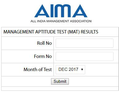 Aptitude Test For Mba Specialization by Mat Result Dec 2017 Mat Score December Announced Aima