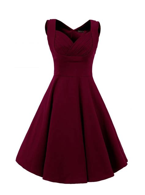 dresses by buy vintage style square neck knee length burgundy
