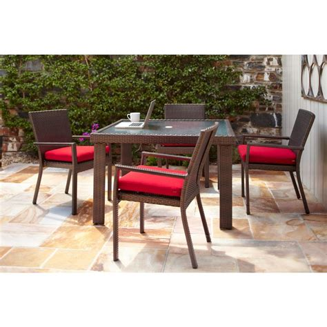 Hton Bay Beverly 5 Piece Patio Dining Set With Cardinal Home Depot Outdoor Patio Dining Sets
