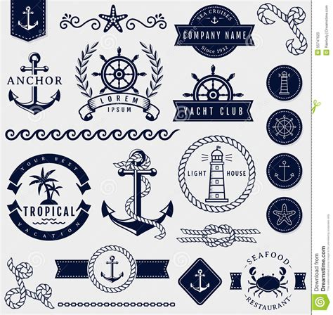 nautical design elements vector sea and nautical design elements vector set stock vector