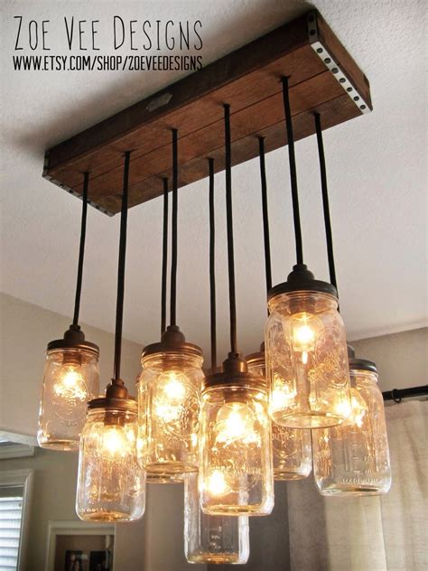 Diy Dining Room Lighting Ideas Handcrafted Jar Pendant Chandelier W Rustic Vintage