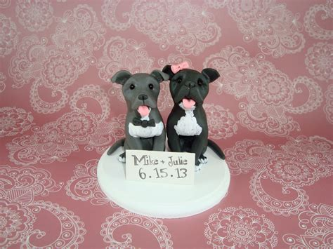 custom made pitbull wedding cake topper