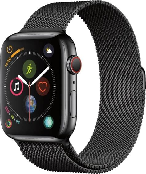 apple apple series 4 gps cellular 44mm space black stainless steel with space