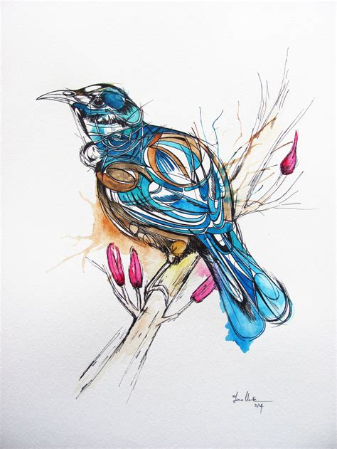 watercolor tattoo nz inked tui bird illustration watercolour