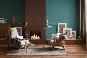 Wohnzimmer Blau Grau Braun Die Wandfarben Petrol Und Braun In Einem Raum Bild 5
